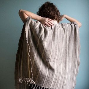 Vintage Wool Poncho with Knit Mock Neck Collar